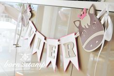 STAMPIN' UP! born2stamp Pferdeparty Kindergeburtstag Girlande horse themed birthday party banner