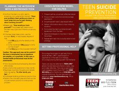 Teenline Teen Suicide Prevention for School Personnel and Law Enforcement