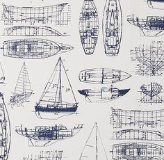 Sailboat blueprints make great beachy wall art design inspiration vintage sailboat blueprint bedding swatch malvernweather Image collections