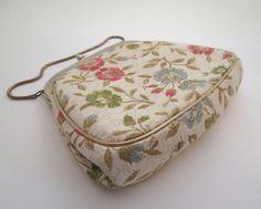 Vintage Tapestry Purse, Carpet Bag, tapestry bag, petit point, flower bag, Julius Resnick, tapestry fabric, 1960s purse, carpet bag purse