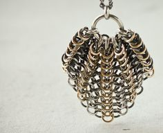 LUSTER Statement Pendant Necklace - Argentium sterling silver and gold filled - gold in oxidized silver chainmaille - custom chain length