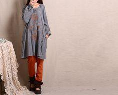 Blue/Gray+cotton+dress+long+sleeve+dress+maxi+by+fashionwomanstore,+$62.00