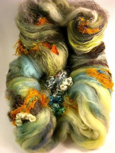 Sprout Wild Card Bling Batt for Spinning and Felting by yarnwench, $30.00