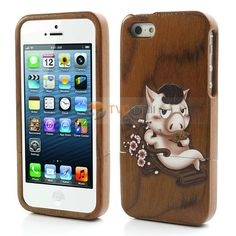 Leisure Pig Painted Natural Wood Hard Back Case for iPhone 5 - Dark Brown