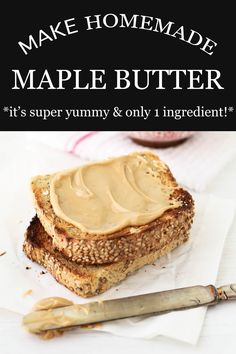 Here's how to make maple butter (vegan) spread at home from pure maple syrup with this step-by-step recipe. Maple butter (a.a maple cream) is great spread on toast for breakfast and sandwiched in maple cookies Maple Butter Recipe, Flavored Butter, Vegan Butter, Baking Recipes, Dessert Recipes, Maple Cookies, Maple Syrup Recipes, Christophe Felder, Maple Cream