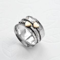 Martha Jackson Sterling Silver Jewellery Sterling Silver Mixed Metal Spinning Hearts Ring