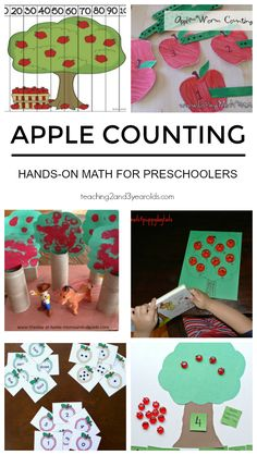 Add some simple hands-on math to your fall curriculum with these preschool apple counting activities. A fun collection for home or school! #fall #autumn #apples #math #counting #printables #preschool #3yearolds #4yearolds #teaching2and3yearolds Counting Activities For Preschoolers, Fall Activities For Toddlers, Apple Activities, Preschool Math, Math For Kids, Fun Math, Preschool Readiness, Kindergarten Math, Preschool Ideas