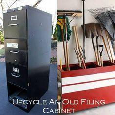 Turn that old file cabinet on it's side and remove the drawers.  Paint and repurpose to hold garden tools.  Put casters on the drawers to use a toy stashes or under the bed stashes.