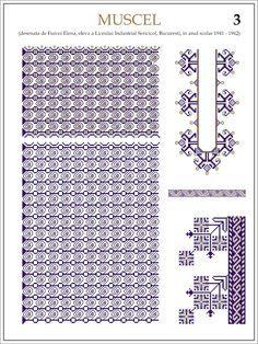 Semne Cusute: ie din MUSCEL  Modele de ii Romanesti din caietul elevei Furcoi Elena, de la Liceul Industrial Sericicol Bucuresti, care a desenat aceste planse in clasa a VIII-a, anul scolar 1941 - 1942 Cross Stitch Flowers, Cross Stitch Patterns, Embroidery Motifs, Beading Patterns, Pixel Art, Needlework, Diy And Crafts, Projects To Try, Hama Beads