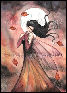 Autumn Dreams Fantasy Fairy Fine Art Giclee PRINT by Molly Harrison 8 x 10