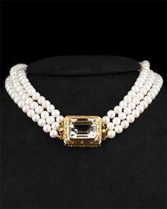 18K Topaz Pearl Necklace