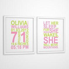 Birth Print for girls Let Her Sleep Custom Birth by MiraDoson, $11.00