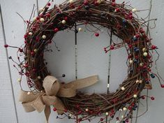 Autumn Wreaths For Front Door, Holiday Wreaths, Door Wreaths, Berry Garland, Berry Wreath, Patriotic Wreath, 4th Of July Wreath, 4th Of July Decorations, Holiday Decorations