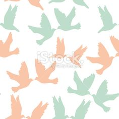 Pair of pigeons on white background. Seamless pattren pastel color. Royalty Free Stock Vector Art Illustration