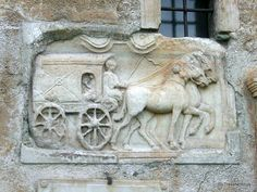 One of the most famous ancient Roman gravestones in Austria: The depiction of a coach immured at a church in Maria Saal. Ancient Rome, Ancient Art, Ancient History, Roman Artifacts, Equestrian Statue, Roman Sculpture, Classical Antiquity, Roman History, Minoan
