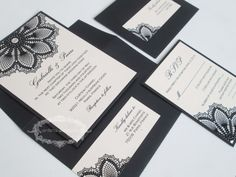 Lace wedding invitation black lace doily by anistadesigns