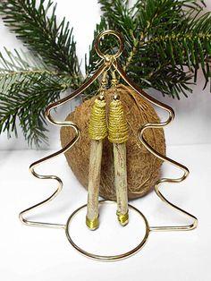 Zimt-Ohrringe, natürlicher Schmuck, handgefertigt