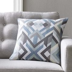 Langley Street Justus Cotton Pillow Cover Size: H x W x D, Color: Blue\Gray Gold Throw Pillows, Modern Throw Pillows, Throw Pillow Sets, Outdoor Throw Pillows, Floor Pillows, Decorative Throw Pillows, Throw Blankets, Pillow Sale, Cushion Pads