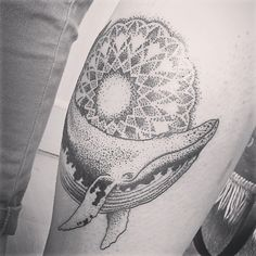 Whale, mandala tattoo by @stas_byron  #whaletattoo #tattoo #dotworktattoo #dotwork #dot #mandala #mandalatattoo