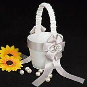 canasta de niña de las flores de raso blanco ... – EUR € 12.37