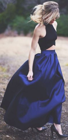 Blue Plain Ruffle Loose Fashion Long Skirt