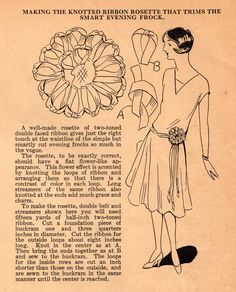 The Midvale Cottage Post: Home Sewing Tips from the 1920s: A Ribbon Rosette for Your Evening Frock