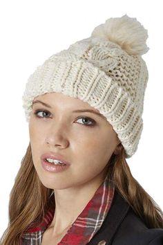 White+Twist+Knit+Top+Ball+Beanie+Hat+#White+#Hat+#maykool