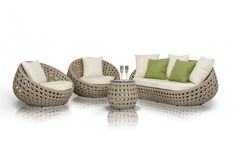 """Loveseat + End Table + 2 Chairs  Features: - Modern patio sofa set; - Fashionable and sturdy design; - Upholstered in a weatherproof wicker; - Unique egg-shaped design; - Includes end table.  Dimensions: Loveseat: W70"""" x D38.5"""" x H26.8"""" Chair: W43.3"""" x D38.5"""" x H26.8"""" End Table: W19.7"""" x D19.7"""" x H16.1"""""""