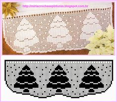 A very nice idea to decorate your tablecloth for Christmas dinner. Two serviettes for table decoration in Christmas style. First tablecloth with Christmas Crochet Thread Patterns, Christmas Crochet Patterns, Holiday Crochet, Crochet Borders, Christmas Knitting, Christmas Cross, Lace Doilies, Crochet Doilies, Knit Crochet