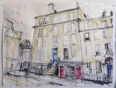 Nelson Street, New Town, Edinburgh. Watercolor Sketch, Watercolour Painting, Painting & Drawing, Drawing Sketches, Art Drawings, Ap Studio Art, Illustration Art, Illustrations, Ceramics Ideas