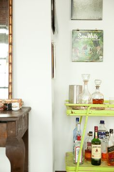 "Sneak Peek: Best of Lime. ""A lime green vintage find makes the perfect bar cart in this Dallas, Texas home."" #sneakpeek"