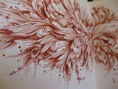 Created using Faber-Castell Sanguine Pitt Artists Pen. Doodle Drawings, Doodle Art, Paint And Drink, Silverpoint, Pitt Artist Pens, Pix Art, Art Carved, Grafik Design, Art Journal Pages