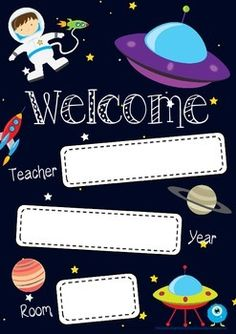 Space theme welcome poster. Print this bright welcome poster in A3 and display on your classroom door!Check out my store for other welcome posters! www.teacherspayteachers.com/Store/Mrs-StrawberryI also have a Facebook page! Make sure you like my page to keep up to date with new products and giveaways!