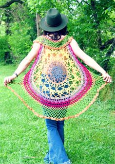 Sunflower Lotus Vest | Morale Fiber Lotus Mandala Design, Lion Brand, Cowl, Crochet Top, Free Pattern, Captain Hat, My Etsy Shop, Fiber, Cotton
