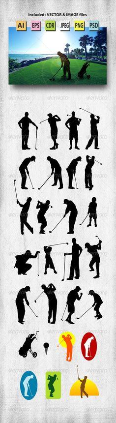 Male Golfer Silhouettes #graphicriver