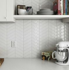 These new Chevron wall tiles would make a stunning splashback or feature wall, use contrasting grout to make the space pop or matching grout for a subdued but more interesting feel than plain subway Kitchen Wall Tiles, Ceramic Wall Tiles, Kitchen Flooring, Bathroom Wall, White Kitchen Backsplash, Bath Tiles, Kitchen Black, Chevron Kitchen, Chevron Tile