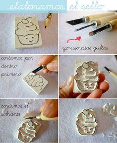 for leaf design - carved lino block & print Diy Arts And Crafts, Paper Crafts, Diy Crafts, Handmade Crafts, Eraser Stamp, Stamp Carving, Fabric Stamping, Handmade Stamps, Tampons