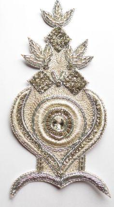 Bridal Applique for Wedding Dress.Rhinestone Waist Applique for Bride. Silver Embroidered Applique.Beaded Crystal Applique. $22.00, via Etsy.