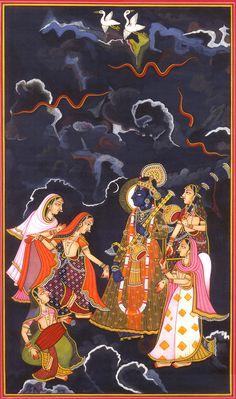 Raga Megha: A Ragamala Folio Krishna Painting, Madhubani Painting, Krishna Art, Lord Krishna, Shree Krishna, Shiva, Krishna Images, Radhe Krishna, Famous Artists Paintings