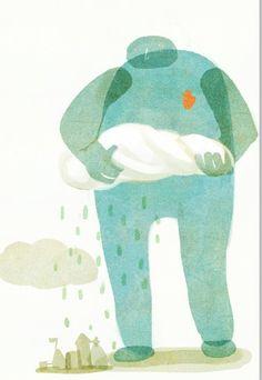 illustration + rain + blue man + porque é que chove? + ilustração