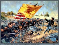 The 1st Maine Heavy Artillery Regiment, acting as infantry in the Battle of Petersburg. On that day, June 18, 1864, it attacked with ca. 900 men. Within minutes they lost 632 of them. Painting by Don Troiani.