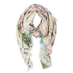 Paris Map Scarf: Our gorgeous map print scarves are back by popular demand! All are hand screen printed to achieve the depth of colour and pattern and the model and viscose mix fabric makes them absolutely wonderful to wear. The perfect accessory to brighten up any outfit. This map of Paris is always a favourite with its romantic reputation and pretty pink and duck egg colourway.