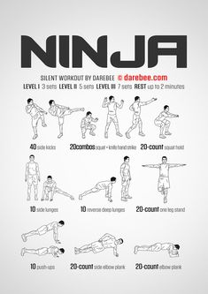 Silent no-equipment workout for every morning for when you need to be ninja-stealthy. Deep Lunges, Side Lunges, Ninja Name Generator, Squat Hold, Football Workouts, Warrior Workout, Martial Arts Training, Karate Training, Darebee