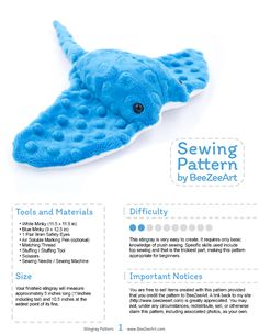 Sewing For Beginners Stingray Plush Sewing Pattern Stuffed Animal Plushie Plushie - Plushie Patterns, Animal Sewing Patterns, Sewing Patterns Free, Fun Patterns, Pattern Sewing, Love Sewing, Sewing For Kids, Sewing Toys, Sewing Crafts
