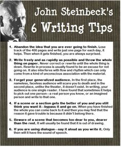 Writing tips from Steinbeck