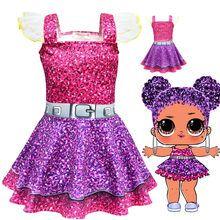 Vestido Lol muñecas vestido de fiesta de cumpleaños vestido de Halloween Cosplay disfraces niñas niños Navidad vestido carnaval ropa máscara(China)