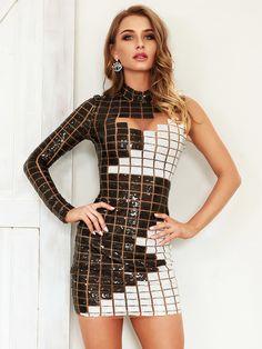 36fa9b1de43 Двухцветное приталенное платье с блестками и карманом