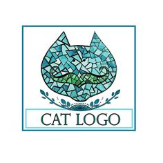 Logo design,blue turquoise vector cat with mustache Logo and watermark, Professional Business Logo, graphic design, logo design
