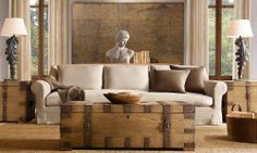 I like the greek bust i like the trunk as coffee table concept, but would have to be vintage I like the couch