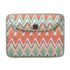 Tribal geometric Aztec ikat print pattern laptop sleeve case
